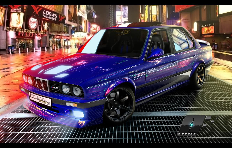 Photo wallpaper machine, night, street, tuning, bmw, BMW, tuning, e30, time square, E30