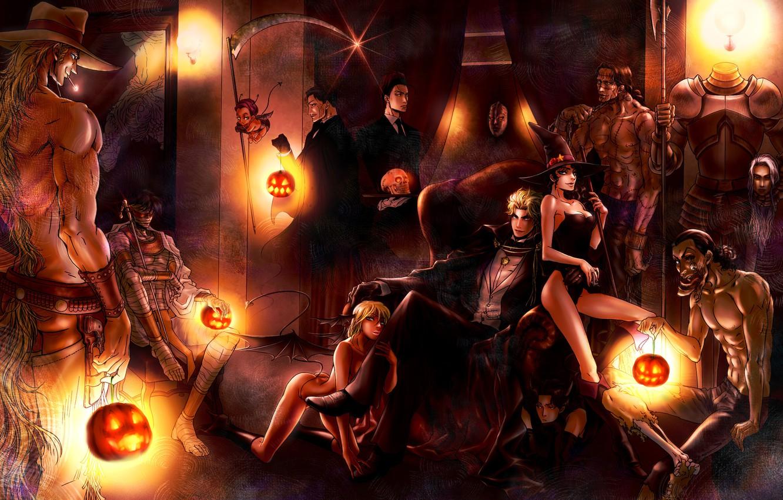 Photo wallpaper girls, room, skull, chair, hat, the demon, art, monsters, pumpkin, braid, guys, halloween, armor, mummy, …