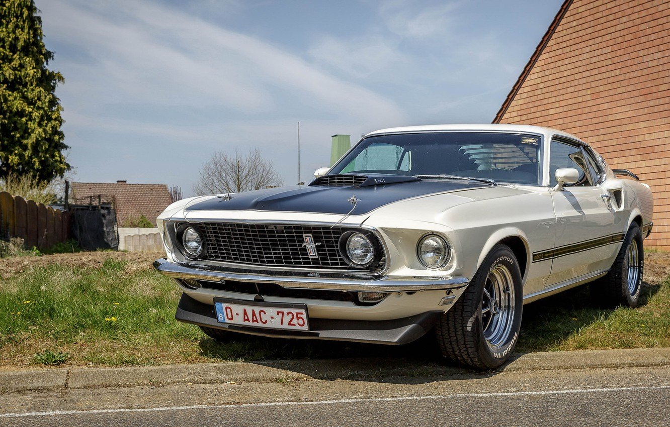 Photo wallpaper Mustang, Ford, white, Mach 1, 351
