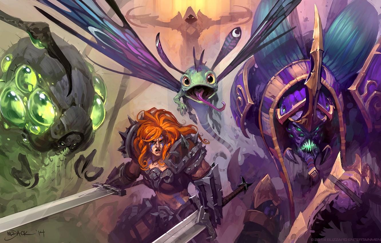 Wallpaper Art Blizzard Demon Hunter Barbarian Heroes Of