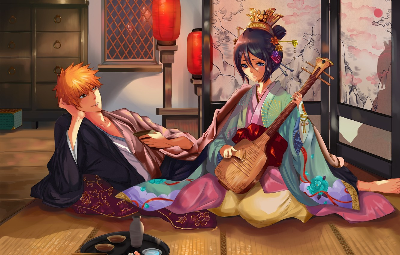 Photo wallpaper girl, art, screen, guy, kimono, lanterns, bleach, Kurosaki Ichigo, musical instrument, kuchiki rukia, muza4370
