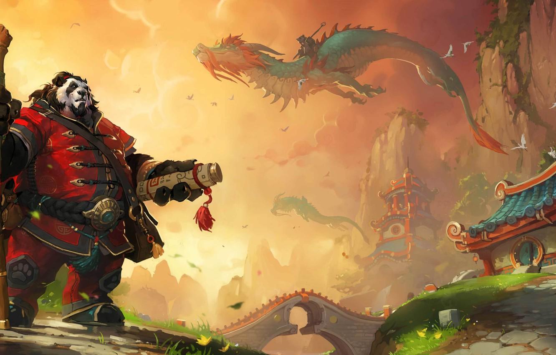 Photo wallpaper dragon, Asia, art, Panda, staff, World of Warcraft, scroll, Mists of Pandaria