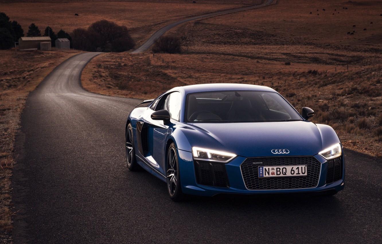 Photo wallpaper car, machine, Audi, lights, road, blue, the front, V10, More