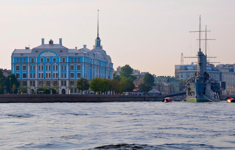 Photo wallpaper river, the building, Saint Petersburg, Aurora, Russia, Museum, promenade, cruiser, Petrogradskaya embankment, Nakhimov naval school, …