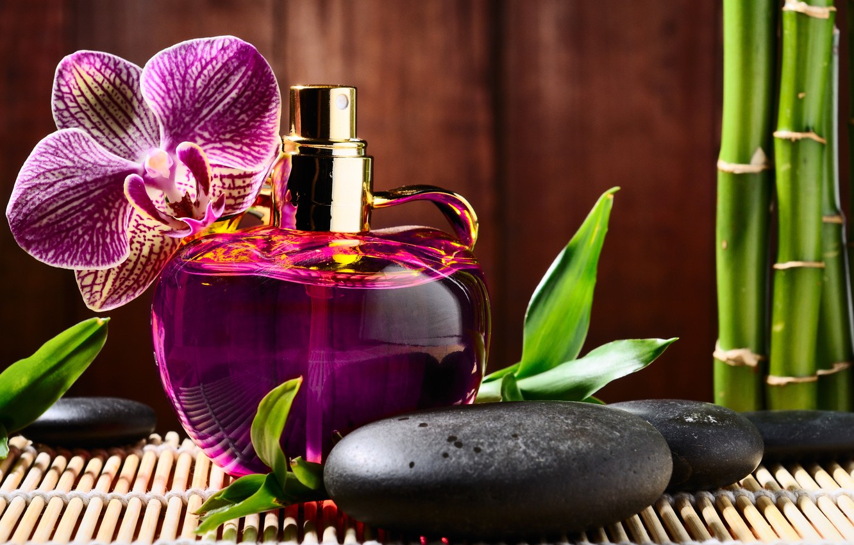 Photo wallpaper flower, stones, perfume, bamboo, bottle, Orchid, black, Spa, perfume, spa, massage, basalt
