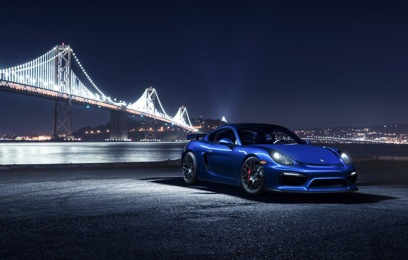 Photo wallpaper Porsche, Cayman, Car, Blue, Front, Bridge, Night, Sport, GT4