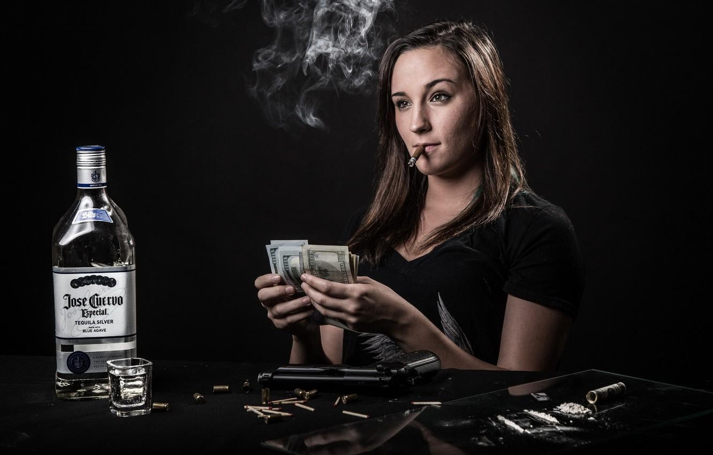 Photo wallpaper girl, money, tequila