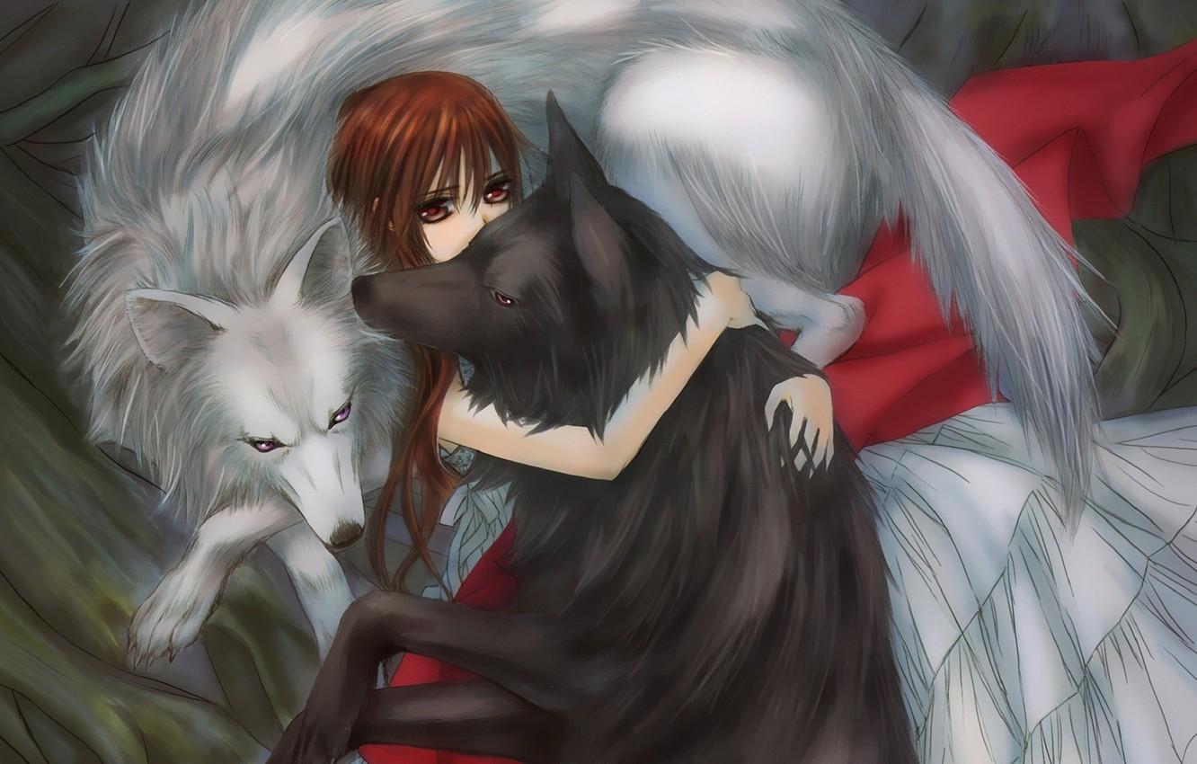 Photo wallpaper girl, wolves, hugs, vampire knight, yuuki cross, knight-vampire