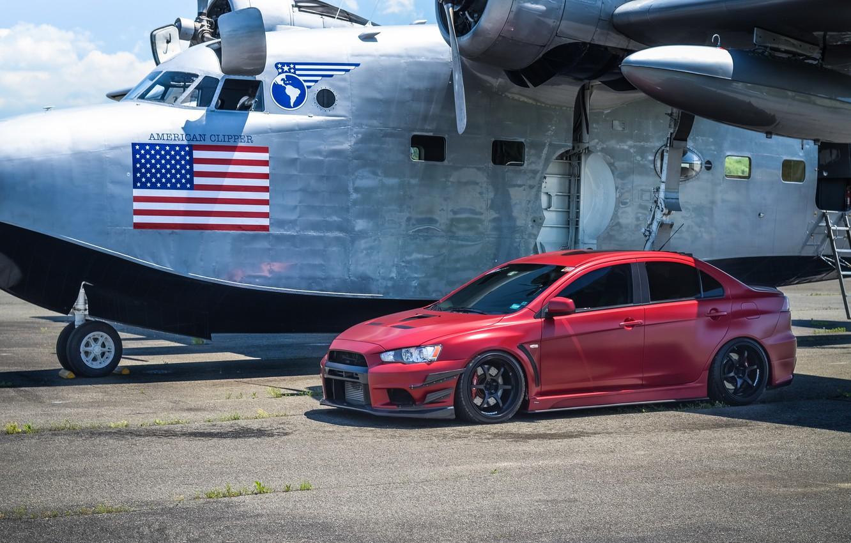 Photo wallpaper red, the plane, red, mitsubishi, plane, Mitsubishi, Lancer evolution, lancer evolution