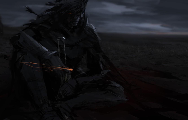Photo wallpaper look, sword, armor, warrior, art, male, sitting