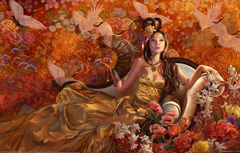 Photo wallpaper girl, flowers, birds, sofa, dress