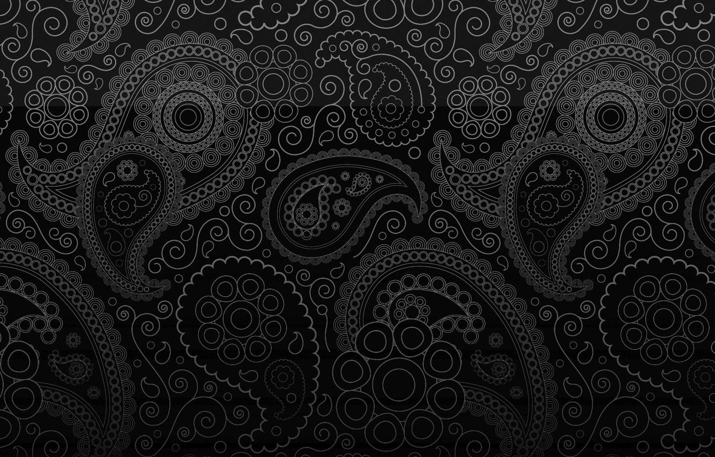 Photo wallpaper cucumber, black background, ornament, curl, pasloski, Paisley