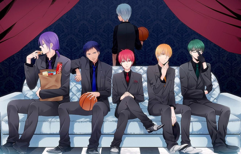 Photo wallpaper sofa, the ball, anime, costume, tie, guys, vest, Kise Ryouta, Kuroko Tetsuya, kuroko's basketball, Kuroko …