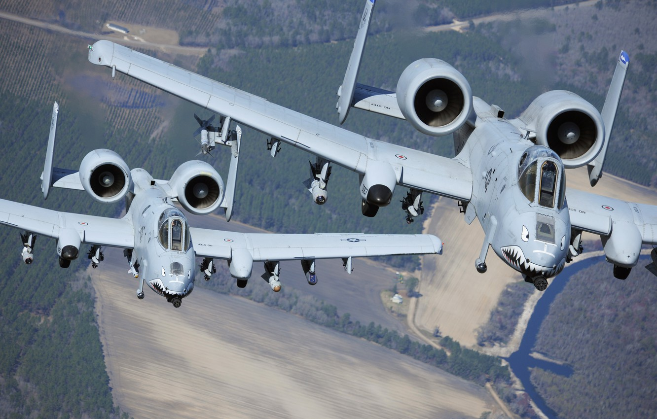 Photo wallpaper the sky, flight, attack, A-10, UNITED STATES AIR FORCE, link, Thunderbolt II, U.S. Air Force
