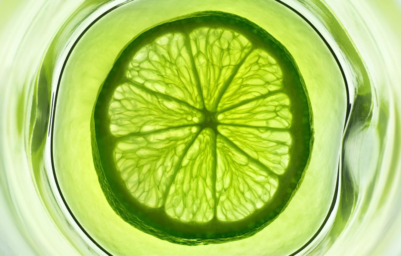 Photo wallpaper water, glass, green, fruit, lime, citrus