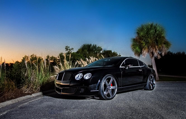 Photo wallpaper black, coupe, Bentley, Continental GT, black, front, Bentley, continental