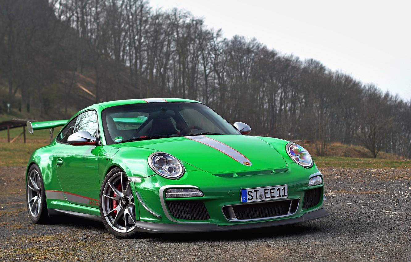 Photo wallpaper forest, the sky, trees, clouds, green, green, 911, Porsche, forest, Porsche, gt3, sky, clouds, tree, …