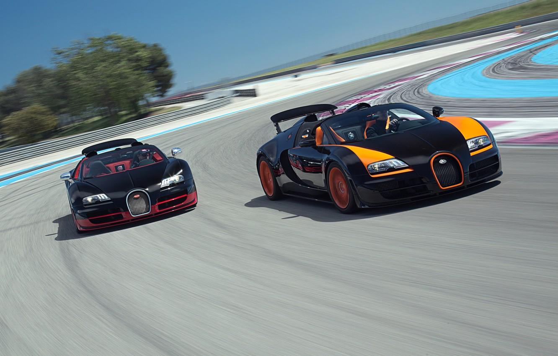 Photo wallpaper Roadster, Bugatti, Bugatti, Veyron, Veyron, supercar, racing track, the front, and, Grand Sport, Vitesse, WRC …