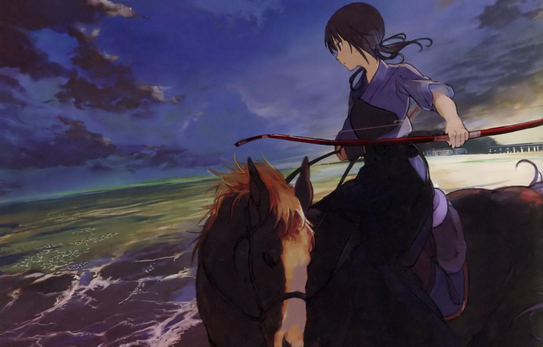 Photo wallpaper sea, shore, horse, horizon, bow, rider, art, cloudy sky, Agriculture, Agriculture, Sawa Okita, Both, Tanu