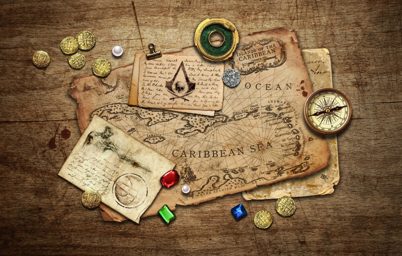Photo wallpaper stones, table, map, coins, records, compass, Black Flag, Assassin's Creed IV