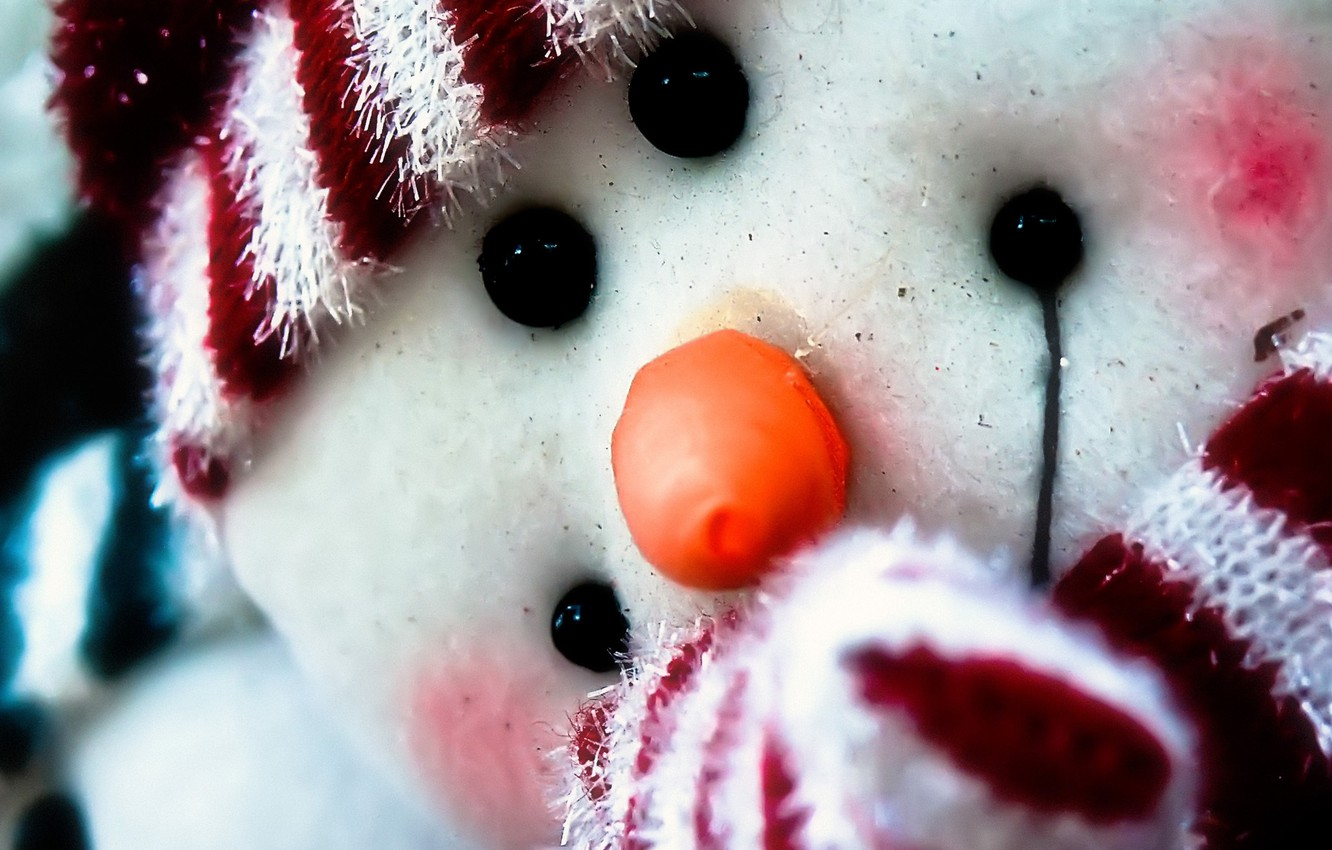 Photo wallpaper winter, holiday, new year, snowman, new year