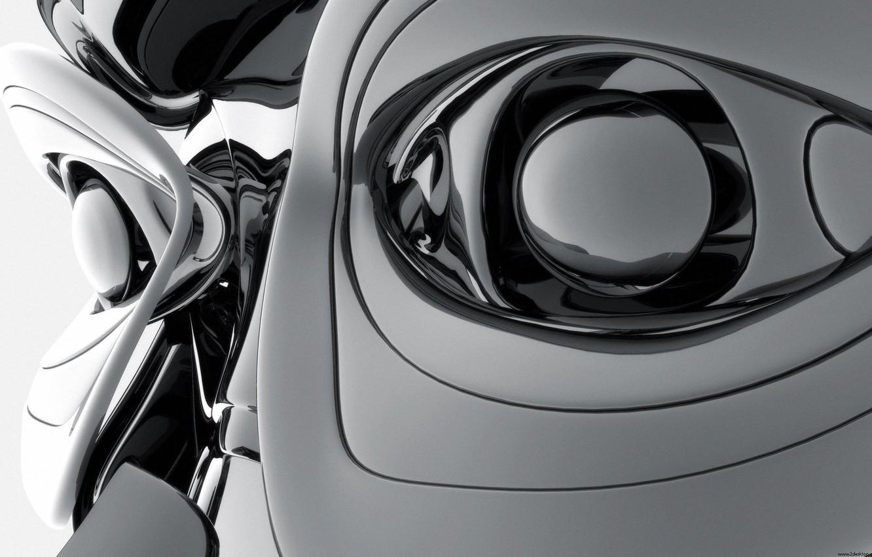 Photo wallpaper eyes, steel, robot, Digital Art