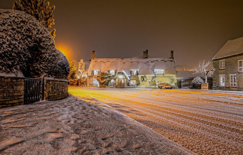 Photo wallpaper winter, snow, night, lights, England, village, United Kingdom, Cambridgeshire, Marholm