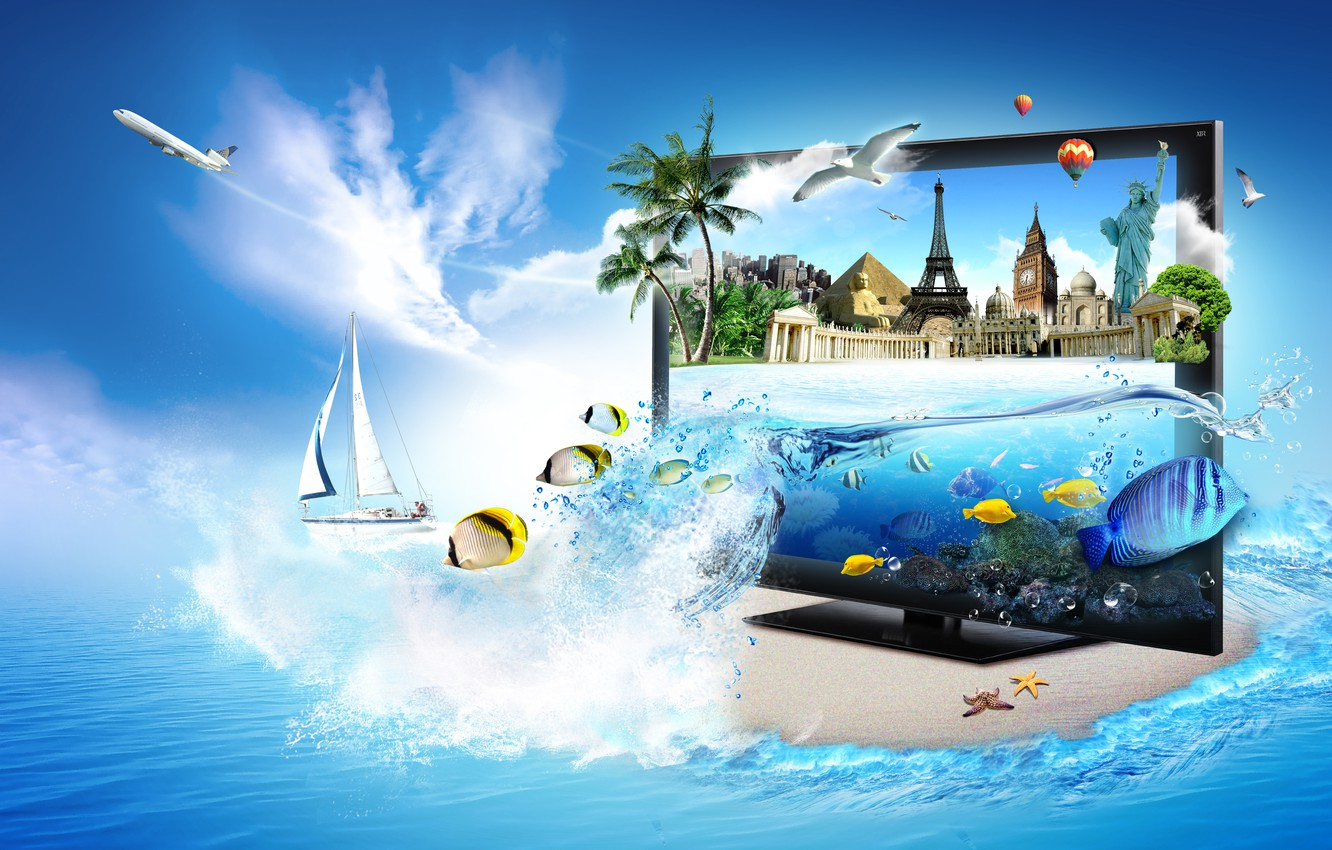Photo wallpaper sea, fish, palm trees, Eiffel tower, seagulls, yacht, pyramid, monitor, the plane, Big Ben, the …