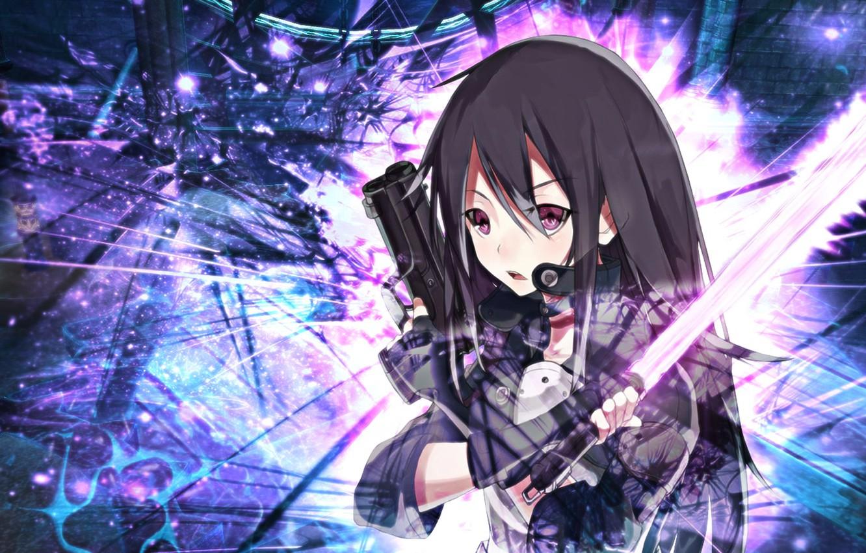 Wallpaper Wallpaper Gun Art Anime Kirito Sword Gun Gale Online
