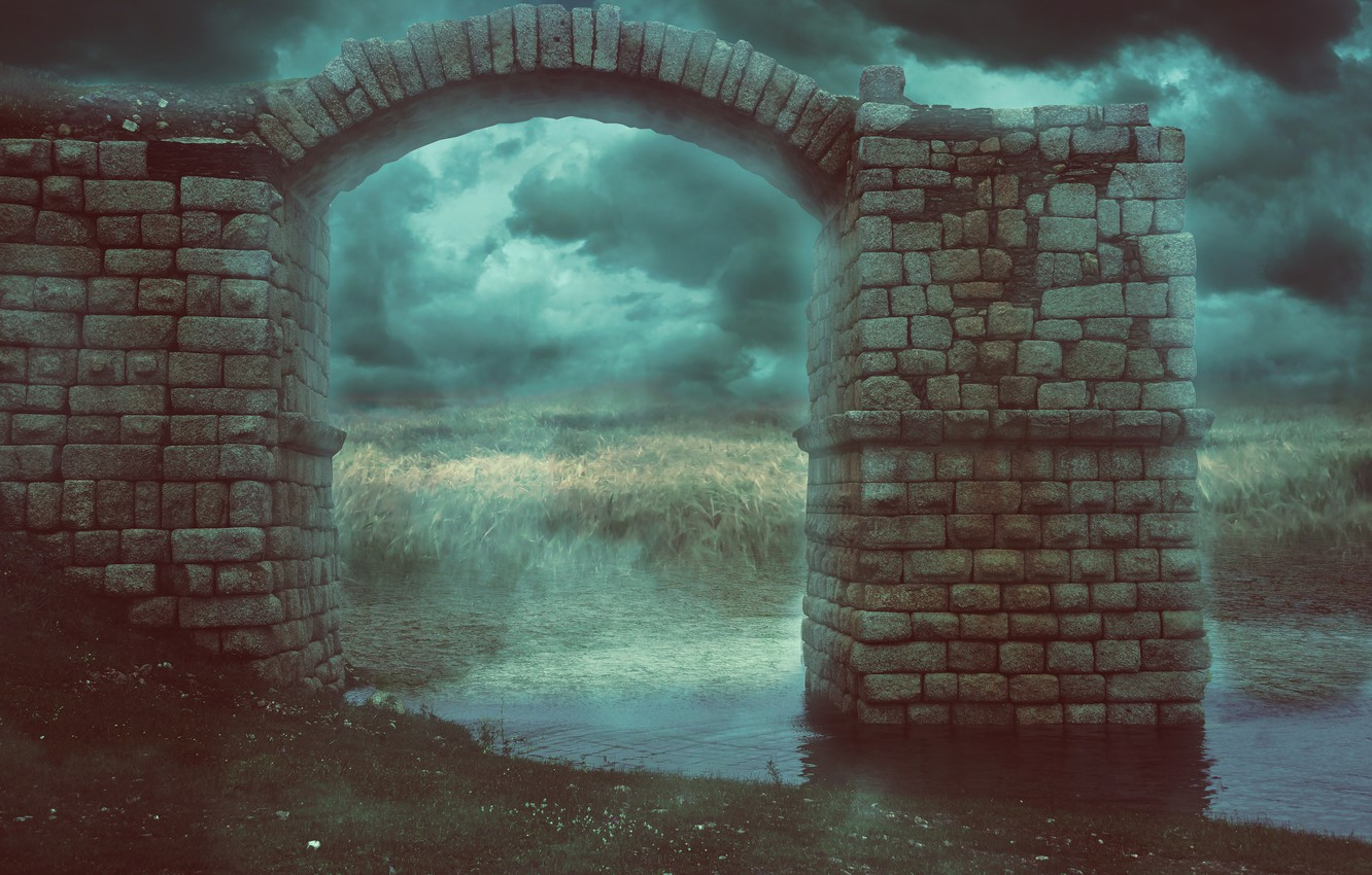 Photo wallpaper grass, river, stones, the darkness, arch