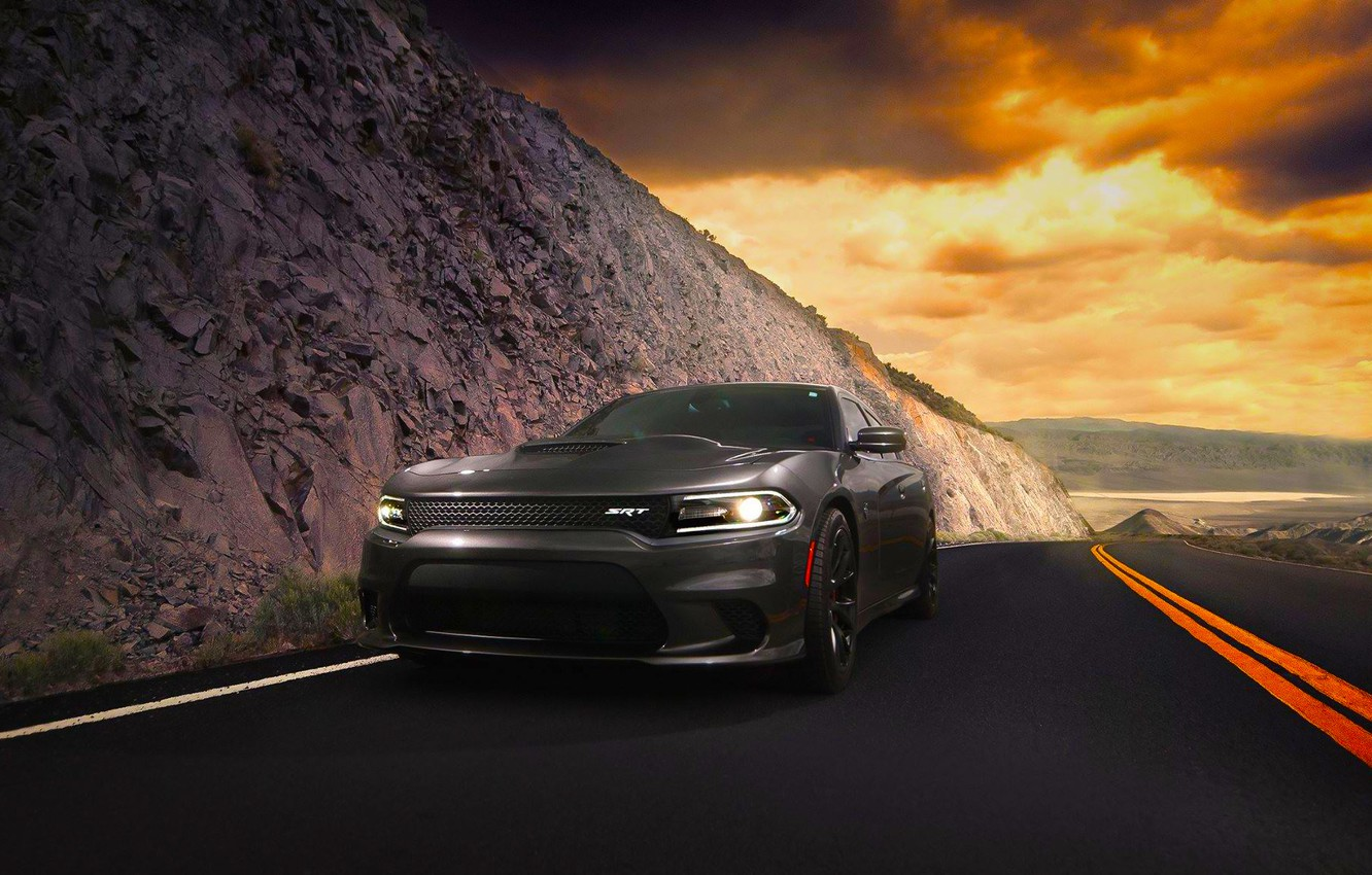 Photo wallpaper Dodge, Car, Clouds, Front, Charger, American, Hellcat, SRT, 2015, Route
