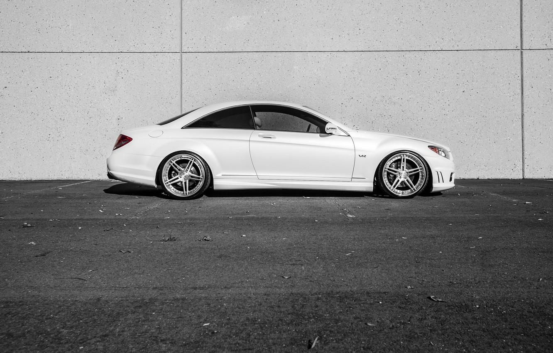 Photo wallpaper Mercedes, white, side, V12, CL600