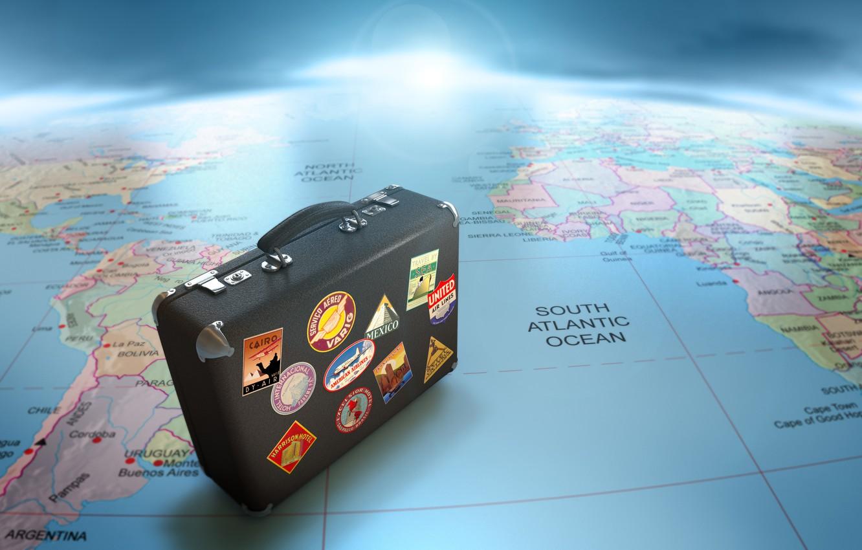 Photo wallpaper map, suitcase, journey, globe