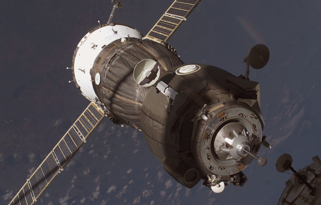 Photo wallpaper Space, Earth, docking, Russian cargo, the ship Union