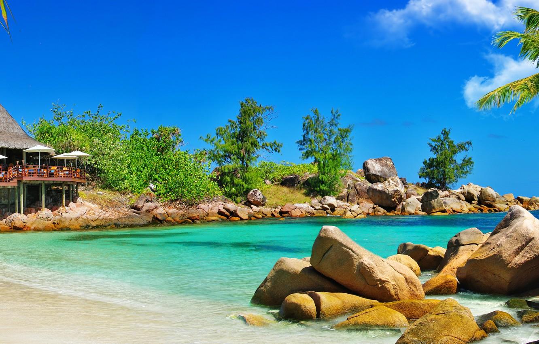 Photo wallpaper sand, sea, beach, palm trees, coast, beach, gazebo, coast, sand, palm trees, the sea, a …