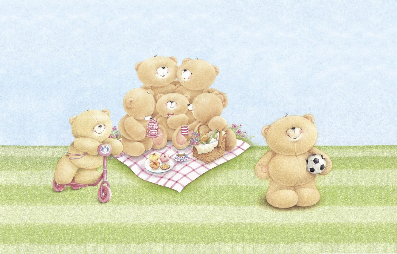 Wallpaper Summer Mood Stay Family Art Bear Picnic Children S
