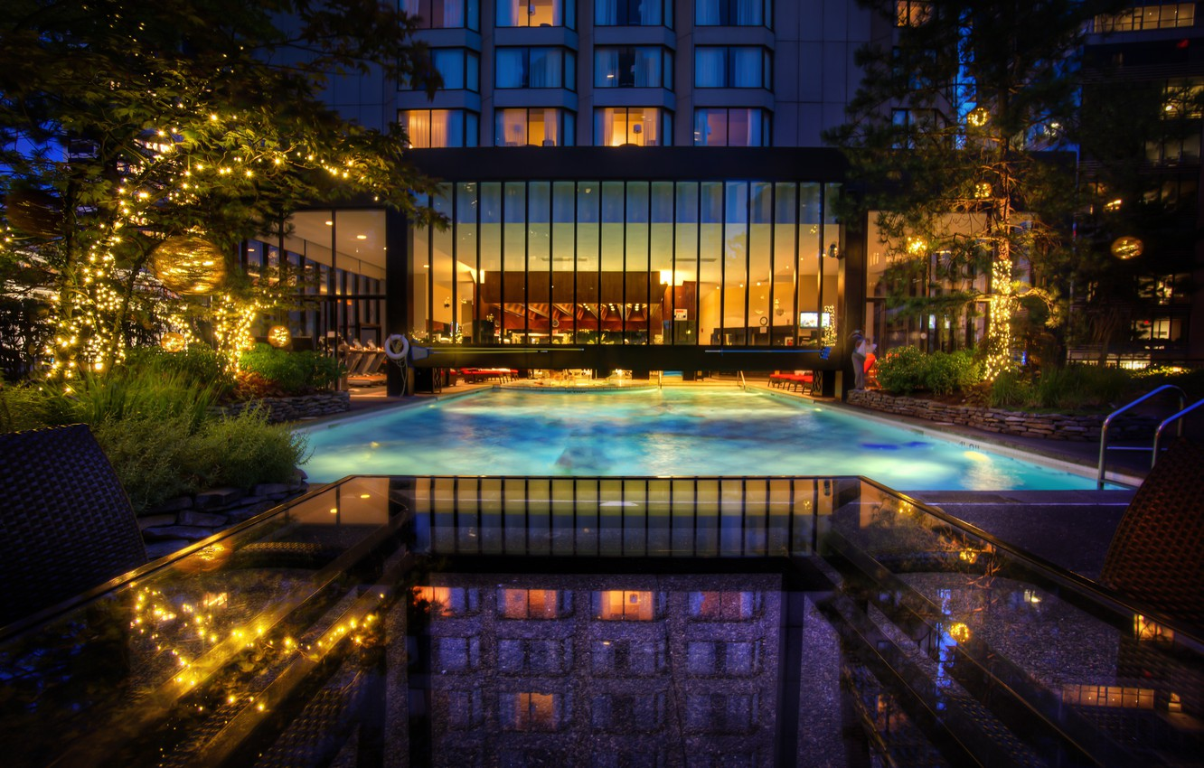 Photo wallpaper water, table, HDR, the evening, pool, the, The, Pool, Four, Seasons, marble window