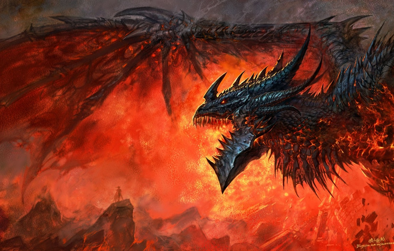 Photo wallpaper flame, dragon, wow, world of warcraft, cataclysm, Deathwing, deathwing, dragon