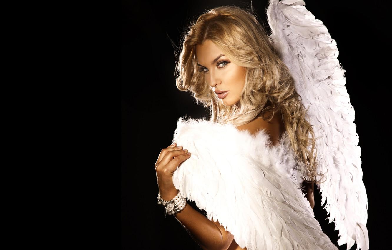 Photo wallpaper look, girl, pose, angel, blonde