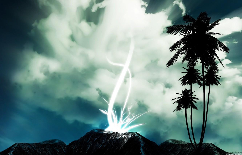 Photo wallpaper the sky, landscape, palm trees, grey