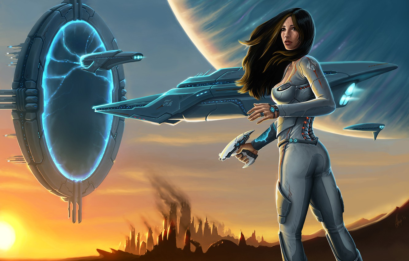 Photo wallpaper weapons, ship, planet, Girl, the portal, costume