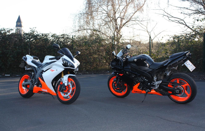 Photo wallpaper white, black, motorcycles, white, black, yamaha, Yamaha, supersport, bikes, yzf-r1
