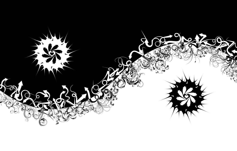 Photo wallpaper abstraction, white, black, arrow, Yin, Yang