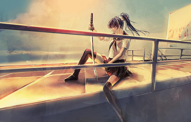 Photo wallpaper girl, katana, schoolgirl