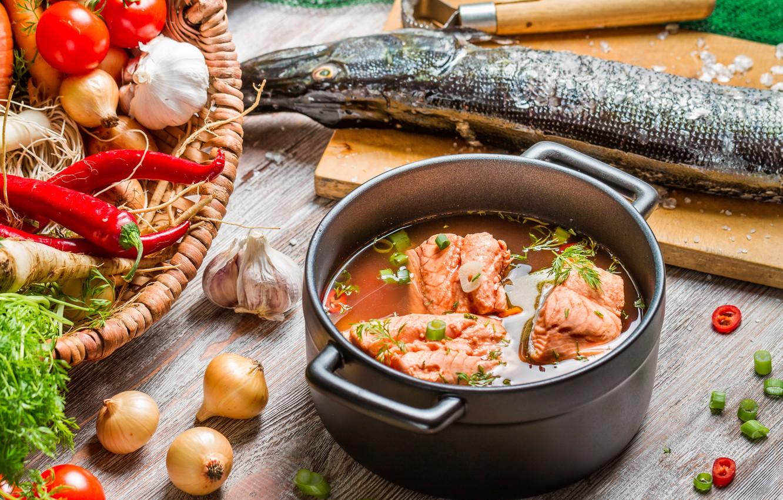 Photo wallpaper fish, vegetables, fish, ear, vegetables, pike, the first dish, the first dish, fish soup, pike