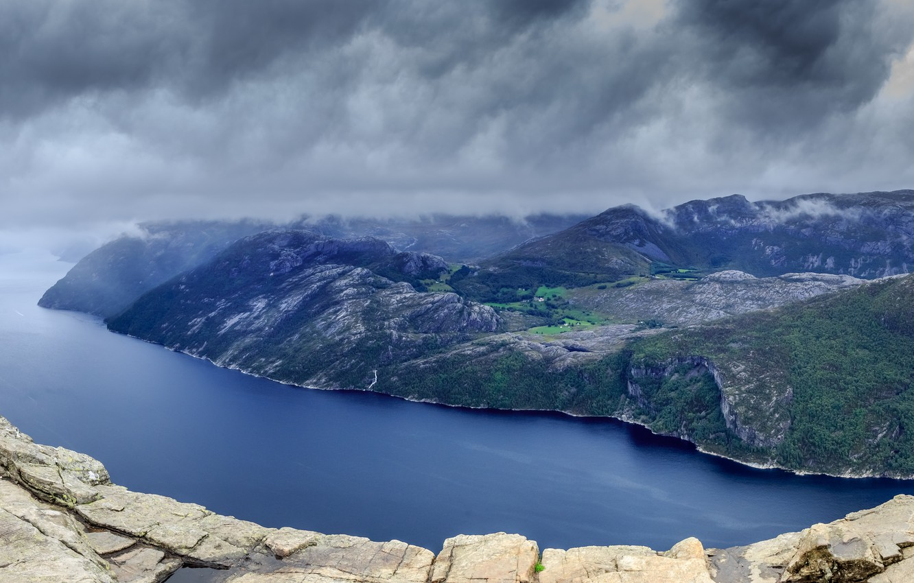 Photo wallpaper mountains, clouds, river, rocks, Landscapes, the fjord