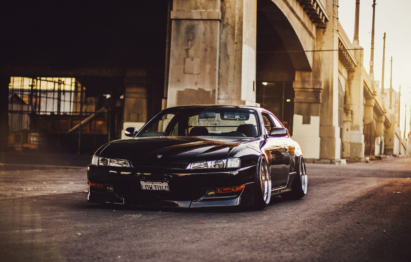 Photo wallpaper tuning, nissan, black, before, black, Nissan, low, Sylvia, s14, 240sx, stance