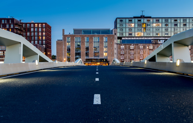 Photo wallpaper twilight, bridge, Amsterdam, dusk, Netherlands, cityscape, urban scene