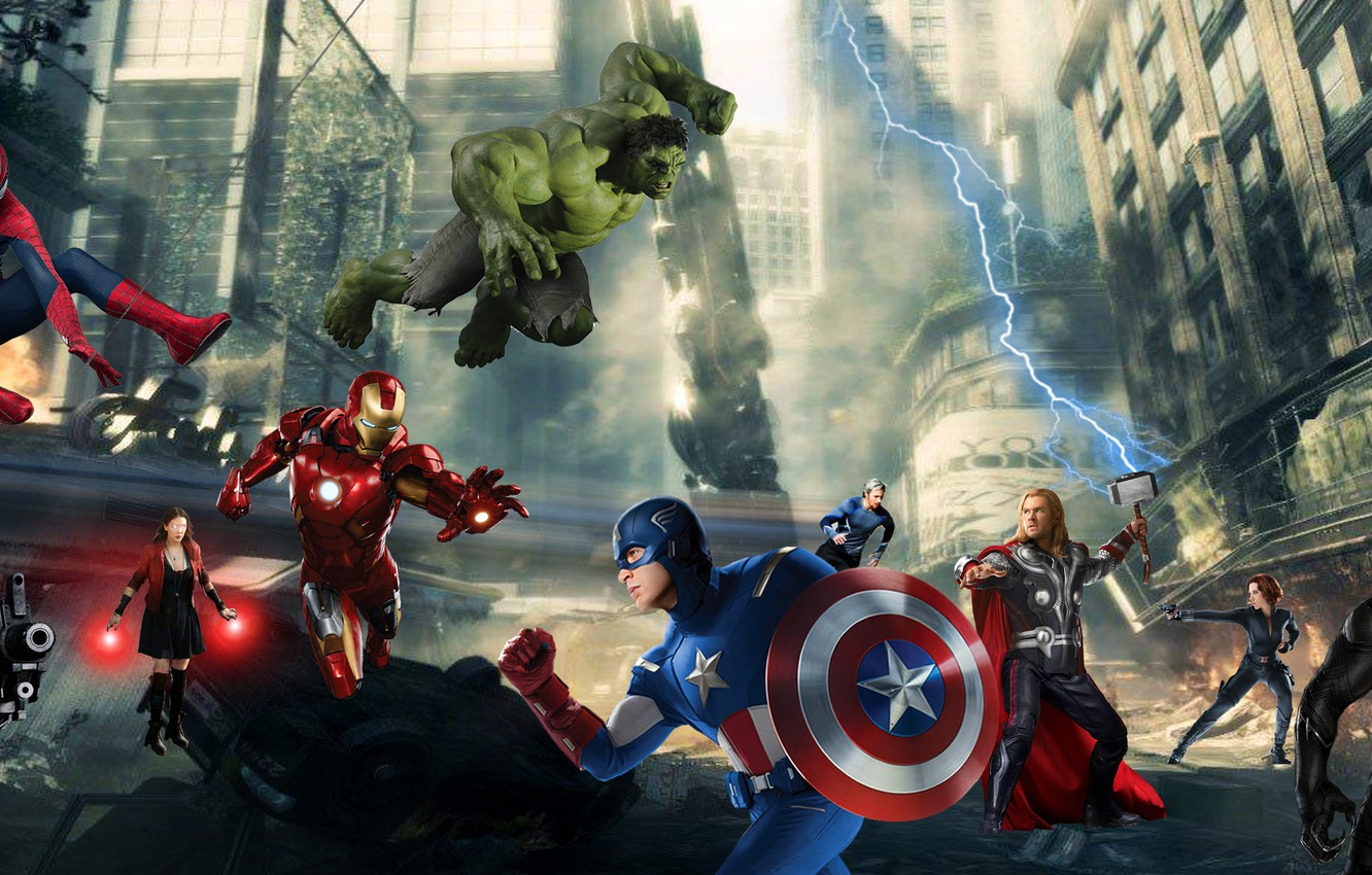 Wallpaper Thor Hulk Spider Man Iron Man Captain America