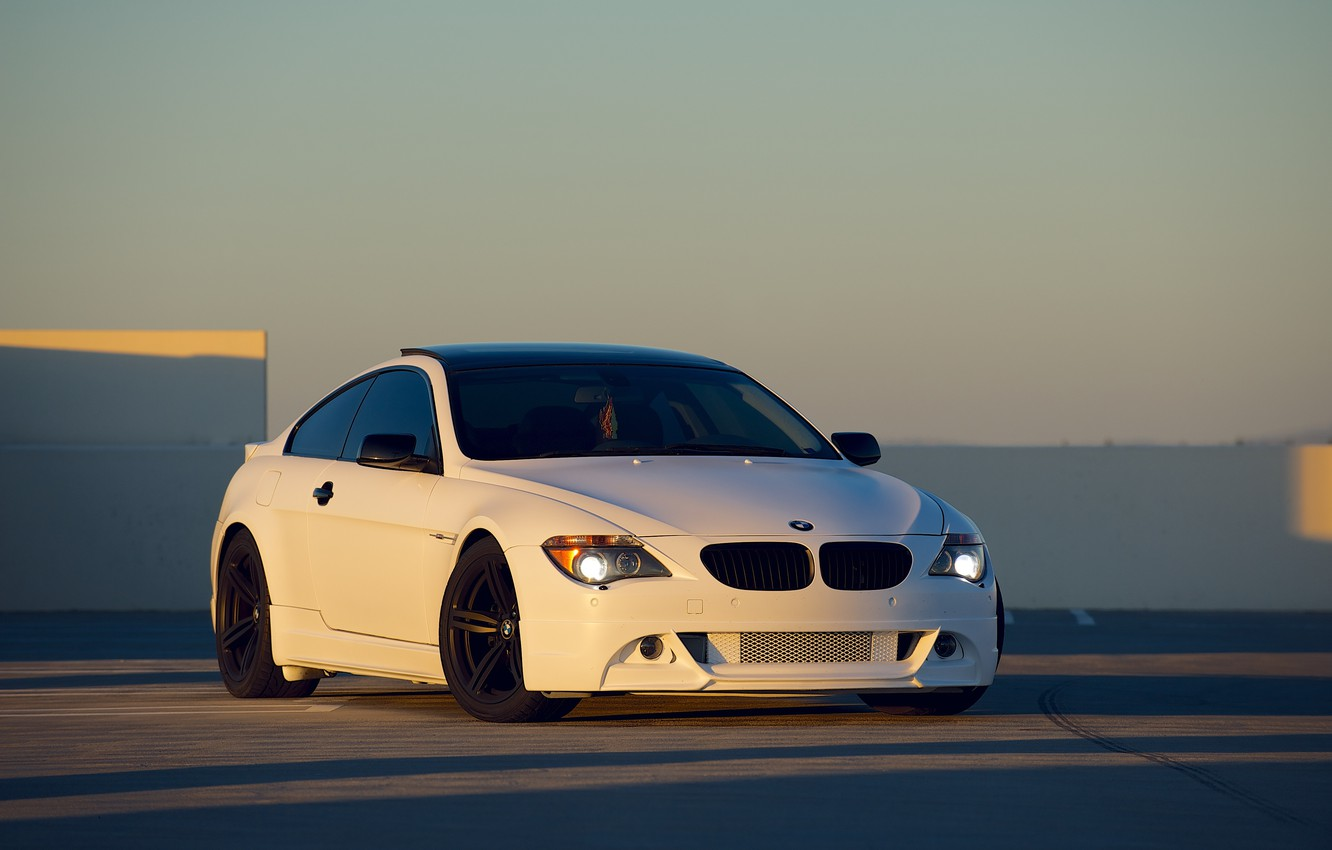 Photo wallpaper white, sunset, bmw, BMW, white, front view, sunset, e63